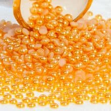 Acrylic Flat back Half Pearls - 3 4 5 6 8 & 10mm yellow gold GOLDEN APRICOT